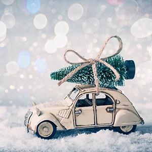Weihnachtsbild Oldtimer