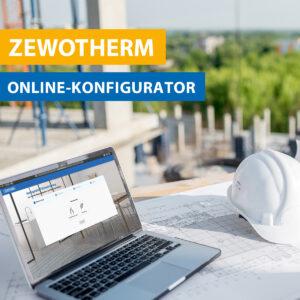 Bild vom Zewotherm Online Konfigurator mit Laptop und Bauhelm